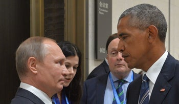 Russian President Vladimir Putin and U.S. counterpart Barack Obama on the sidelines of the G20 Leaders Summit in Hangzhou on September 5, 2016.