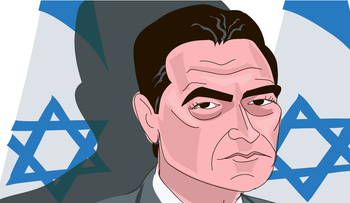An illustration of incoming Mossad chief Yossi Cohen. An Israeli flag is on the backdrop.