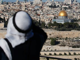 A general view shows the Dome of the Rock at the Al-Aqsa mosque compound in the Old City of Jerusalem on December 29, 2016.