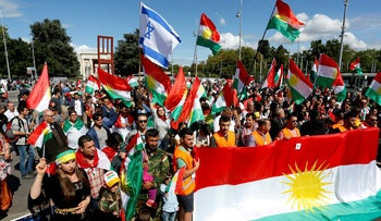 Demonstrating in support of the referendum for independence of Kurdish Iraq in front of the Palais des Nations in Geneva, Switzerland. September 10, 2017