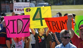 U.S. Republican presidential candidate Donald Trump supporters await his arrival at a rally in Sarasota, Florida November 28, 2015.