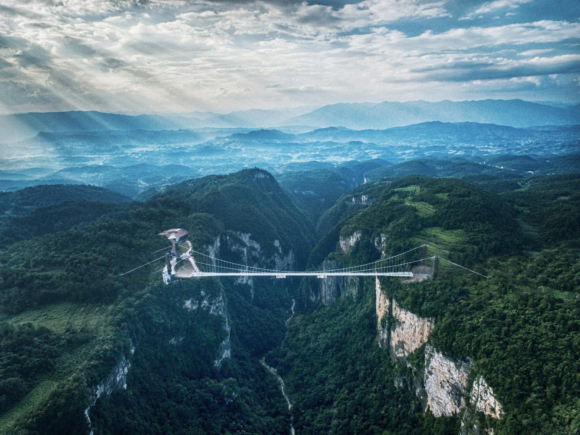 An Aerial view of Haim Dotan's glass-bottomed bridge in China.