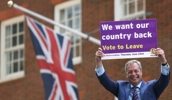 The former leader of the United Kingdom Independence Party, Nigel Farage, in London prior to the referendum on whether to leave the European Union, May 2016.