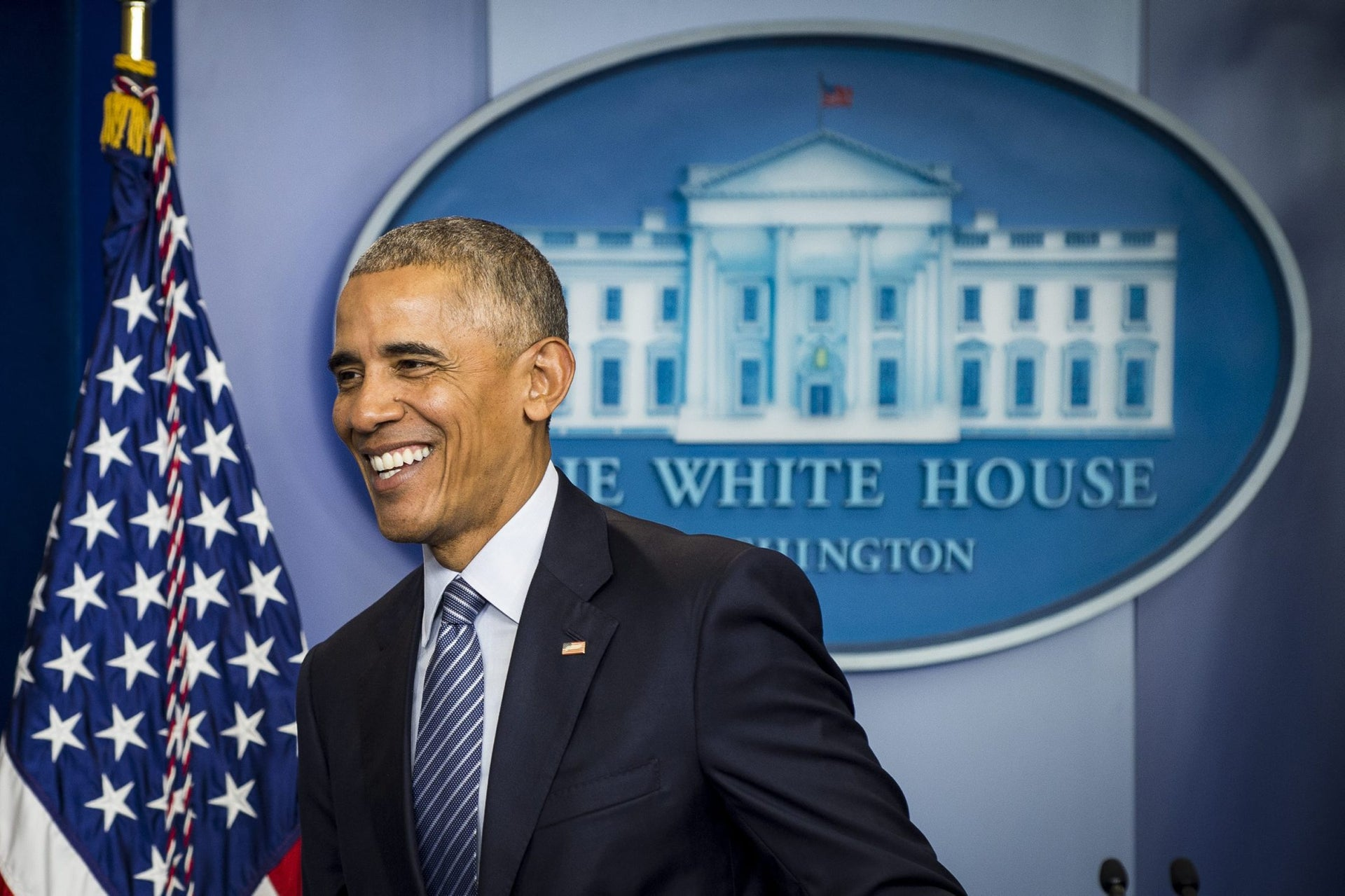 U.S. President Barack Obama smiles during a press conference at the White House briefing room in Washington, D.C., U.S., on Monday, Nov. 14, 2016. Obama said he doubts President-elect Donald Trump will scrap a deal with Iran to curtail the country's nuclear weapons aspirations because the agreement is working. Photographer: Pete Marovich/Bloomberg