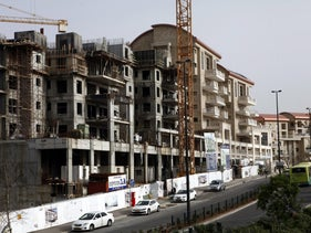 New residential apartment blocks stands during construction in Jerusalem, Israel, on Sunday, March 16, 2014.