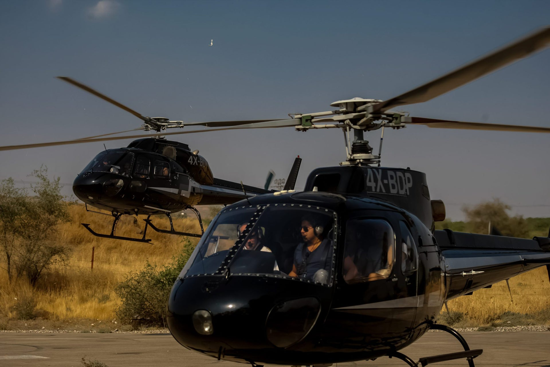 Traveling by helicopter in the Galilee.