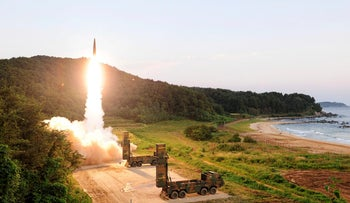 A South Korean ballistic missile is fired in an exercise to 'strongly warn' the North on Sep 4, 2017.