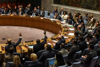 Ambassadors to the UN vote on North Korea in New York City, U.S. on September 11, 2017.