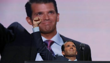 Donald Trump Jr. thrusts his fist after speaking at the 2016 Republican National Convention in Cleveland, Ohio U.S. July 19, 2016.