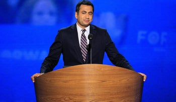 Kal Penn speaking at the Democratic National Convention in Charlotte, North Carolina, September 4, 2012.