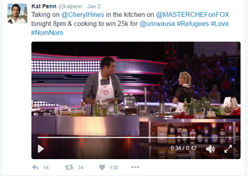"""Kal Penn's tweet: """"Taking on @CherylHines in the kitchen on @MASTERCHEFonFOX tonight 8pm & cooking to win 25k for @unrwausa #Refugees #Love #NonNom."""""""