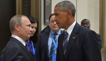 Russian President Vladimir Putin (L) meets with U.S. President Barack Obama on the sidelines of the G20 Summit in Hangzhou, China, September 5, 2016