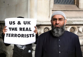 Demonstrator Anjem Choudary protests in support of Islamist cleric Abu Hamza al-Masri, who is appealing against his extradition to the U.S., London, U.K., October 5, 2012.