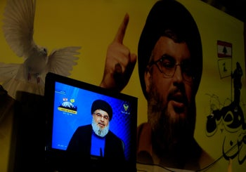 FILE PHOTO:  Lebanon's Hezbollah leader Sayyed Hassan Nasrallah is seen speaking on television in Nabatieh in southern Lebanon, August 4, 2017.