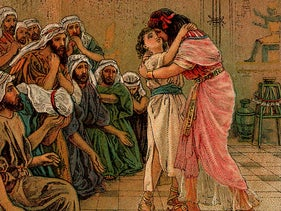 'Joseph Forgives His Brothers,' an illustration from a Bible card published 1907 by the Providence Lithograph Company.