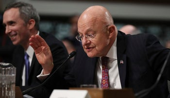 Director of National Intelligence James Clapper testifies on Capitol Hill in Washington on January 5, 2017, before the Senate Armed Services Committee.