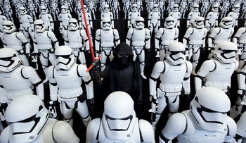 """Figurines of Kylo Ren, center, and First Order Stormtroopers, characters from """"Star Wars"""", are displayed at the Tomy Co. booth at the International Tokyo Toy Show in Tokyo, Japan, on Thursday, June 9, 2016"""