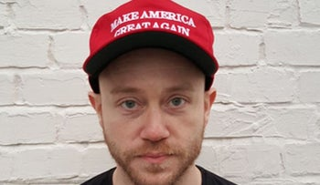 "Andrew Anglin, wearing a ""Make America Great Again"" hat on January 16, 2016"