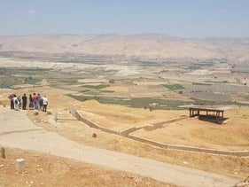 Potential settlers getting a tour of the site of the illegal Jordan Valley outpost in July.