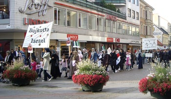 People march for International Al Quds Day in Malmo, Sweden, September 27, 2008.