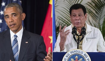 A combination image shows U.S. President Barack Obama speaking at the G20 summit in Hangzhou, China and Philippine President Rodrigo Duterte speaking in Davao City, The Philippines.