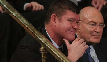James Packer, left, sits next to movie producer Arnon Milchan and listens to Benjamin Netanyahu address a joint meeting of Congress, March 3, 2015.