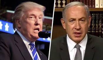 L: Donald Trump speaks at a campaign event. R: A screengrab of a video posted by Benjamin Netanyahu on his Facebook page.