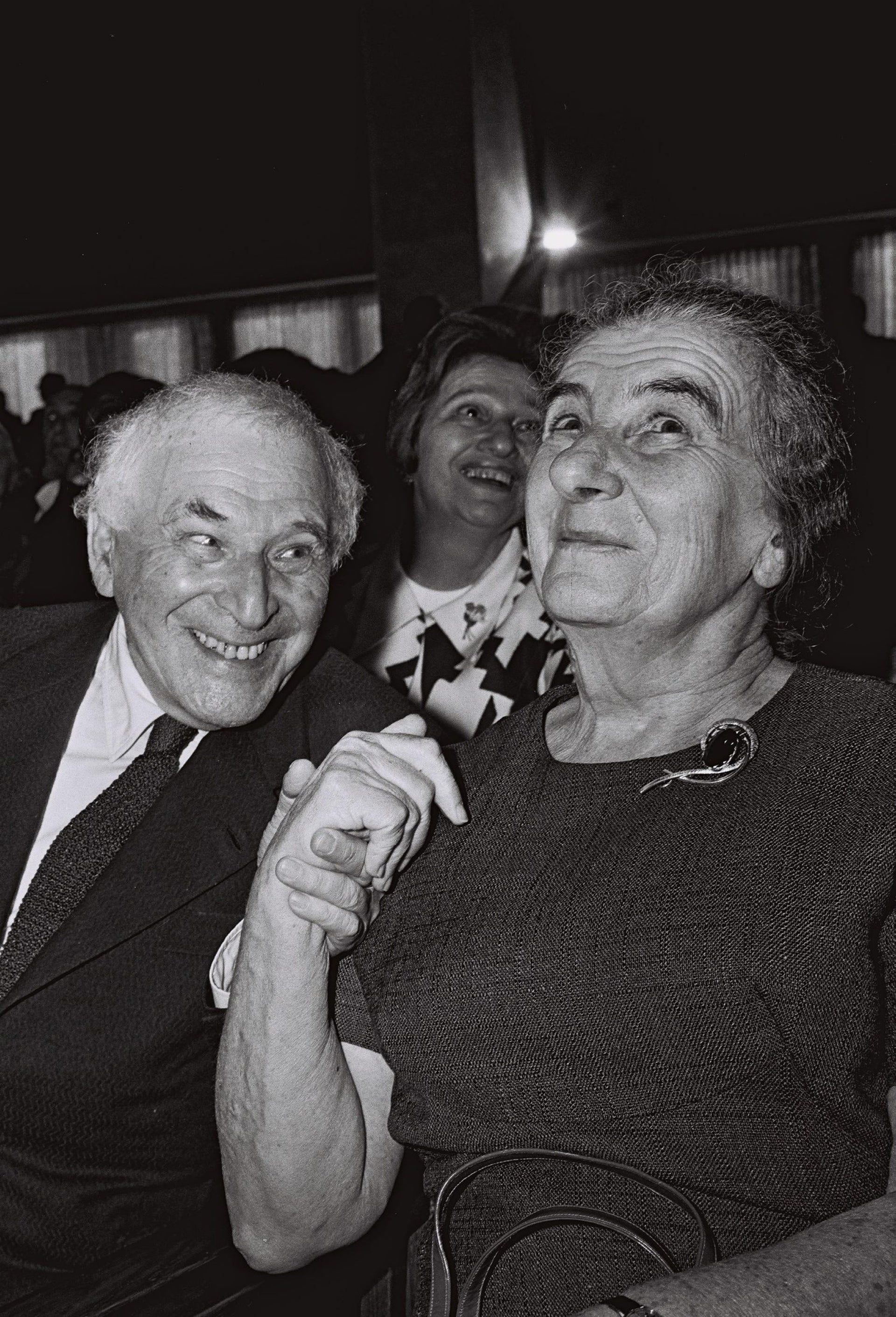 Prime Minister Golda Meir and Marc Chagall attend the unveiling of his Gobelins at the Knesset building in Jerusalem in 1969.