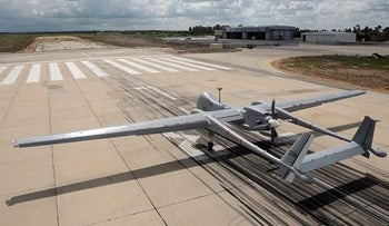 An Israeli-made Haron drone on a runway in the Palmachim airbase.