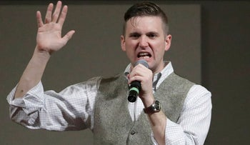 In this Dec. 6, 2016 file photo, Richard Spencer, who leads a movement that mixes racism, white nationalism and populism, speaks at the Texas A&M University campus