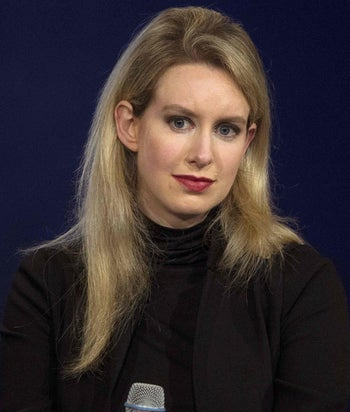 Elizabeth Holmes, CEO of Theranos, attends a panel discussion during the Clinton Global Initiative's annual meeting in New York, September 29, 2015. She wears a black turtleneck.