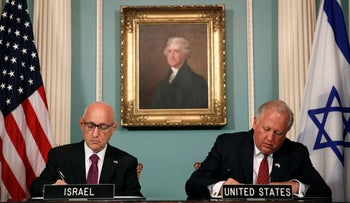 Tom Shannon and Jacob Nagel participate in a signing ceremony for a new ten year pact on a defense aid agreement between the U.S. and Israel, Washington, U.S., September 14, 2016.