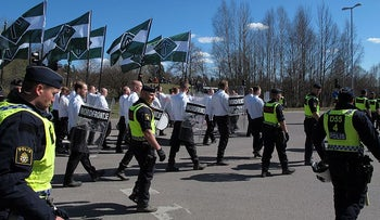 Nordic resistance movement marching in Falun, Sweden.