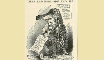 "Cartoon depicting Ulysses Grant crying ""crocodile tears"" over the fate of the Jews in Russia in order to court Jewish votes in the upcoming 1884 presidential election; published in Puck Magazine, 1882."
