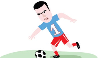Illustration: Sayed Kashua plays soccer.