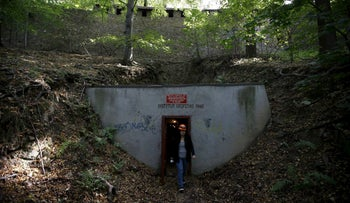 """Entrance of tunnels which are part of the Nazi Germany """"Riese"""" construction project, in the area where a Nazi train was believed to be, in Walbrzych, Poland, September 3, 2015."""