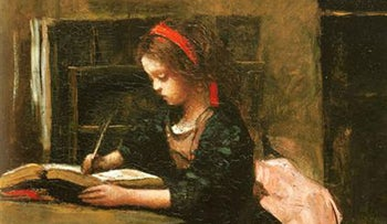 Young girl learning to write. Jean-Baptiste Camille Corot, 1850.