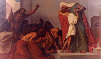 'Joseph recognized by his brothers,' by Léon Pierre Urbain  Bourgeois, 1863 oil on canvas, at the Musée Municipal Frédéric Blandin.