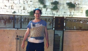 Sam Barsky at the Western Wall in Jerusalem, wearing his Western Wall sweater.