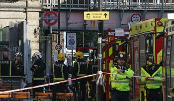 Members of the emergency services work outside Parsons Green underground tube station in west London on September 15, 2017, following an incident on an underground tube carriage at the station.