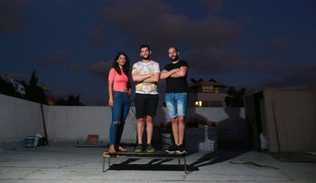 Leaders of the group Israel Gay Youth: Rachel Ben Zur, Ziad Abul Hawa and Ido Cohen, September 2016.