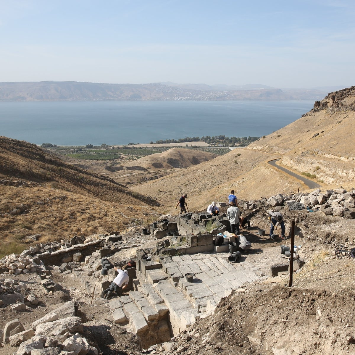 A view of Hippos, and the Sea of Galilee in the background, from the east.