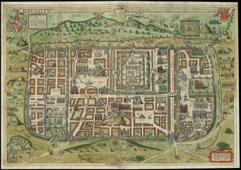 Jerusalem and its suburbs, as it was in the time of Jesus, by Adrichem, 1584, printed 1590.