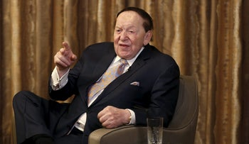 Sheldon Adelson speaks during an interview in Macau, China, December 18, 2015.