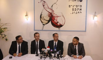Attorneys representing the Jewish terror detainees addressing a press conference on Thursday.