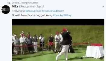 Trump retweeted a doctored video of himself taking a golf swing and hitting former Democratic presidential rival Hillary Clinton, September 17, 2017
