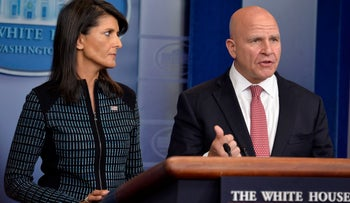 National Security Adviser H.R. McMaster and UN Ambassador Nikki Haley at the White House Sep 15, 2017.