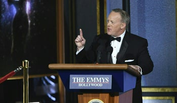 Former White House Press Secretary Sean Spicer speaks onstage during the 69th Emmy Awards at the Microsoft Theatre on September 17, 2017