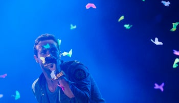 Coldplay frontman Chris Martin performs in Brazil.