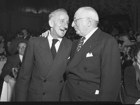 Jimmy Durante and Louis B. Mayer during an award dinner at Mt. Sinai Men's Club in Los Angeles, California in 1948.